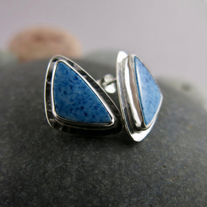 One of a Kind Blue Quartz Triangle Stud Earrings in Sterling Silver
