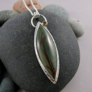 Green jasper and citrine fireflies artisan necklace in sterling silver by Mikel Grant Jewellery.