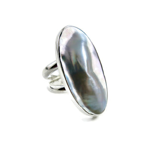 Artisan made mabe pearl shell statement ring in sterling silver by Mikel Grant Jewellery.