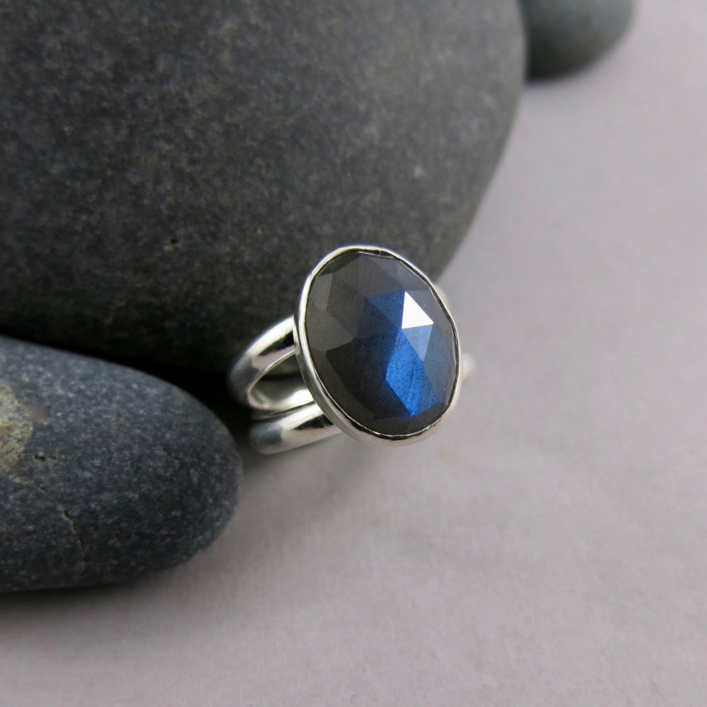 Artisan made rose cut labradorite ring in double banded sterling silver by Mikel Grant Jewellery.