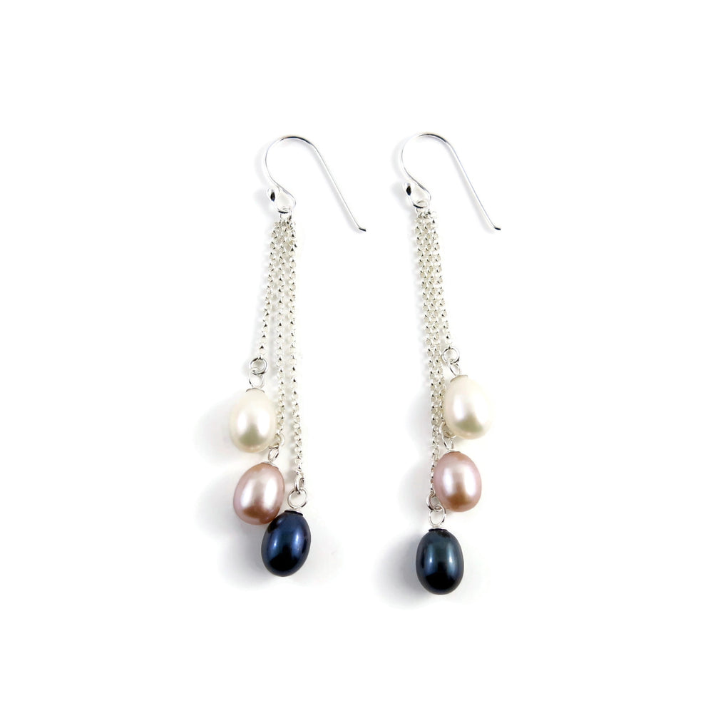 Artisan made pearl drop earrings. White, pink & black freshwater pearl drops on silver chain by Mikel Grant Jewellery.