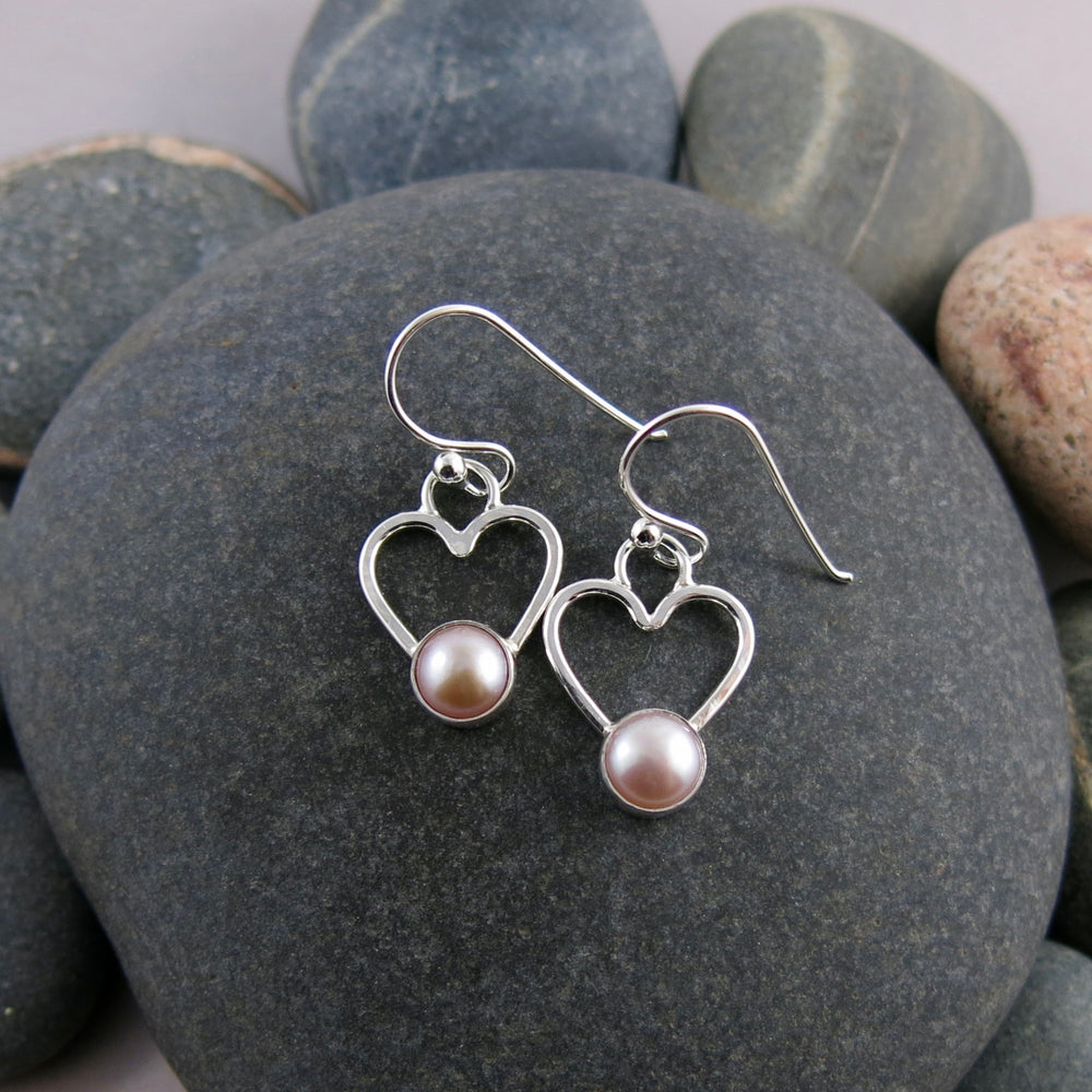 Pink pearl heart earrings in sterling silver by Mikel Grant Jewellery.