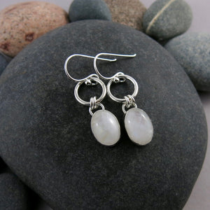 Artisan made rainbow moonstone joy drop earrings in sterling silver by Mikel Grant Jewellery.