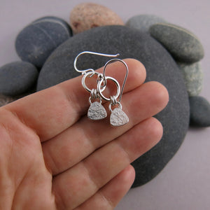 Artisan made moonstone joy drop earrings in sterling silver by Mikel Grant Jewellery. View of the back of the earrings.