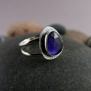 Artisan made ring.  Rose cut amethyst on a double banded sterling silver band by Mikel Grant Jewellery.