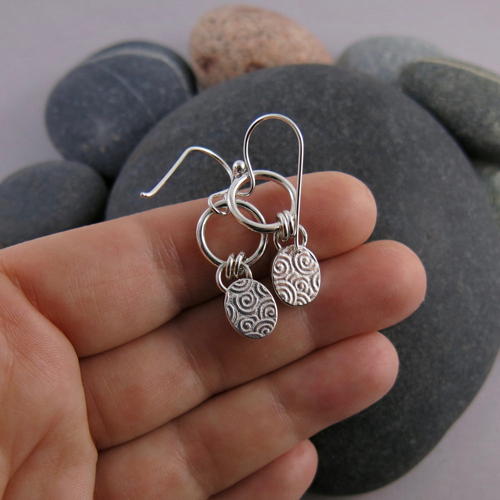 Artisan made labradorite joy drop earrings in sterling silver by Mikel Grant Jewellery. View of the back of the earrings.
