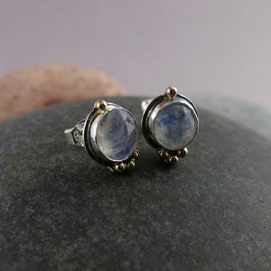 Artisan made rose cut moonstone stud earrings in sterling silver with gold details by Mikel Grant Jewellery.
