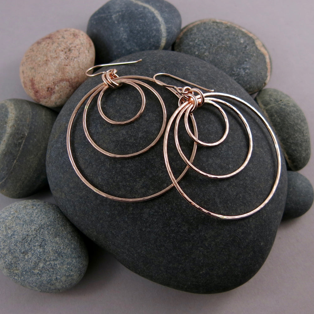 Custom Order for Cynthia • Nesting Trio Circle Earrings • Hammer Textured Rose Gold