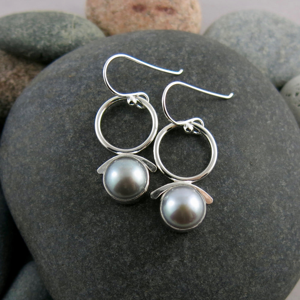 Artisan made silvery-grey button pearl joy drop earrings in sterling silver by Mikel Grant Jewellery.