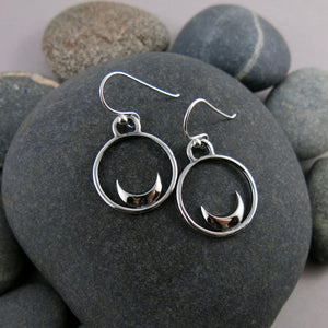 Silver Crescent Moon Dream Earrings by Mikel Grant Jewellery.