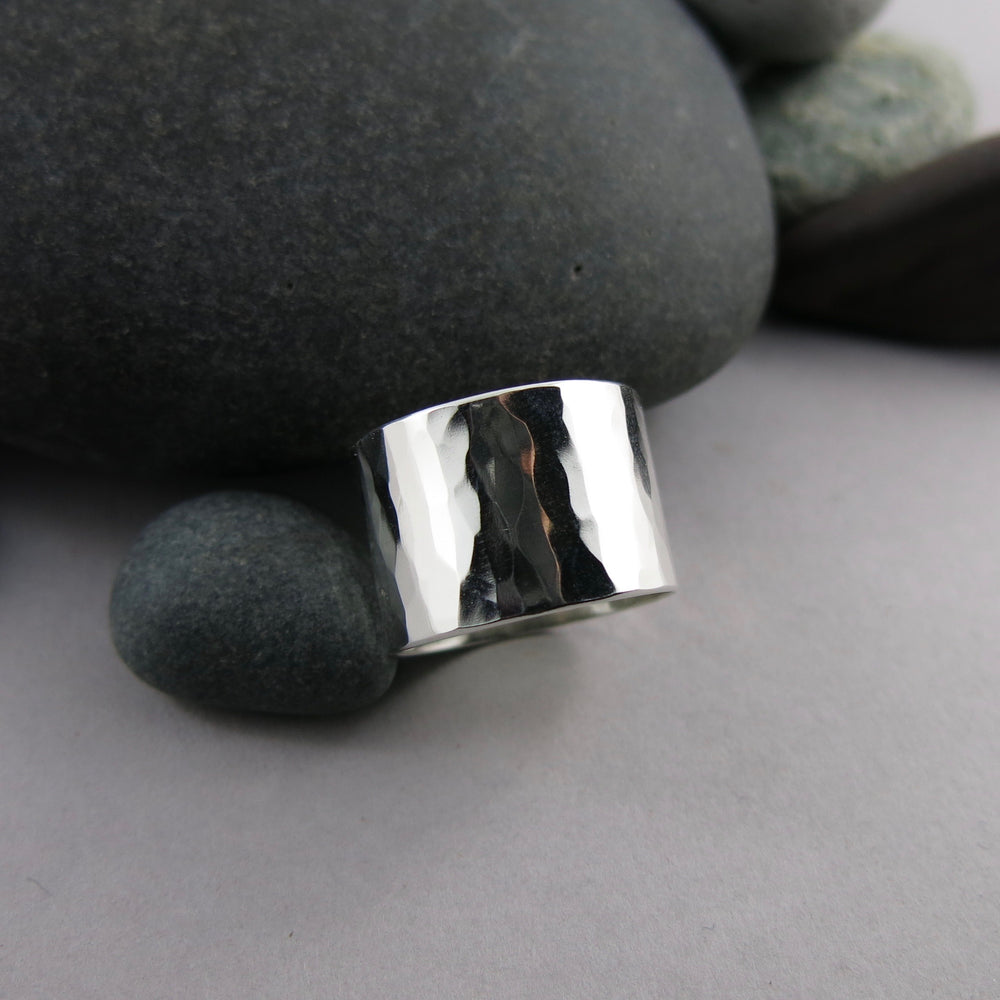 The Shimmer Ring by Mikel Grant Jewellery: an artisan made simple textured wide sterling silver ring band.