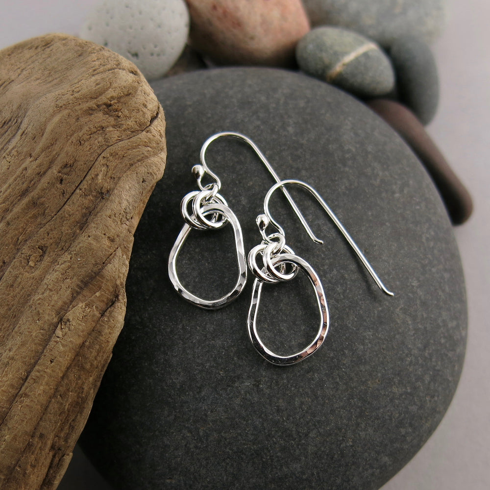 Small Coast Earrings: beach inspired hammer textured free form sterling silver dangles by Mikel Grant Jewellery