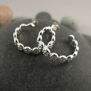 Berry hoops: sterling silver open hoop stud earrings by Mikel Grant Jewellery. Artisan made.