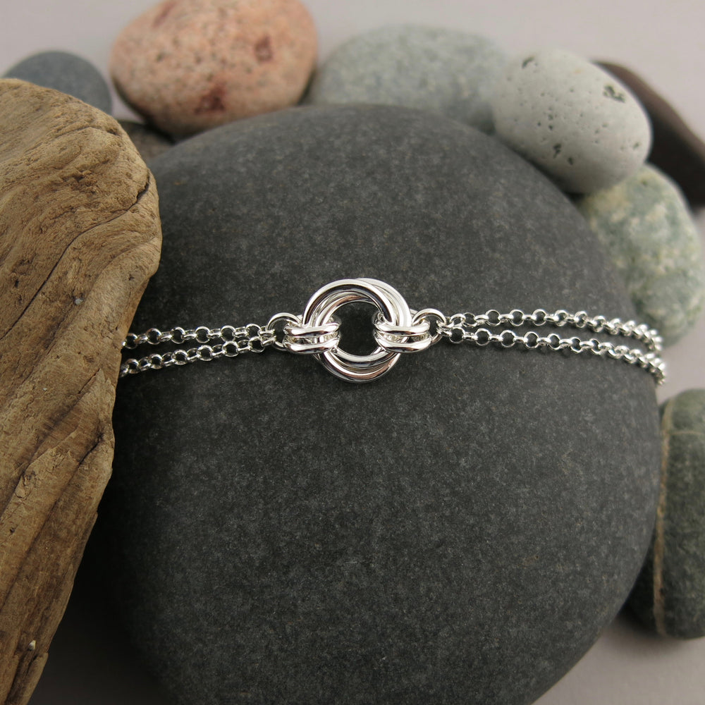 Timeless Love Knot Bracelet • Sterling Silver with Double Rolo Chain
