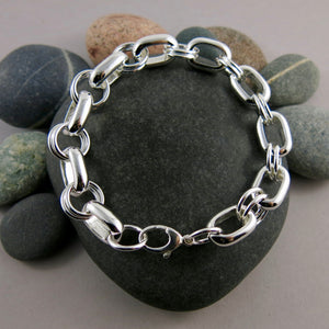 Chunky Oval Chain Link Bracelet in Sterling Silver • Joy Collection