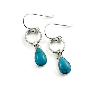 Artisan made turquoise joy drop dangle earrings in sterling silver by Mikel Grant Jewellery.