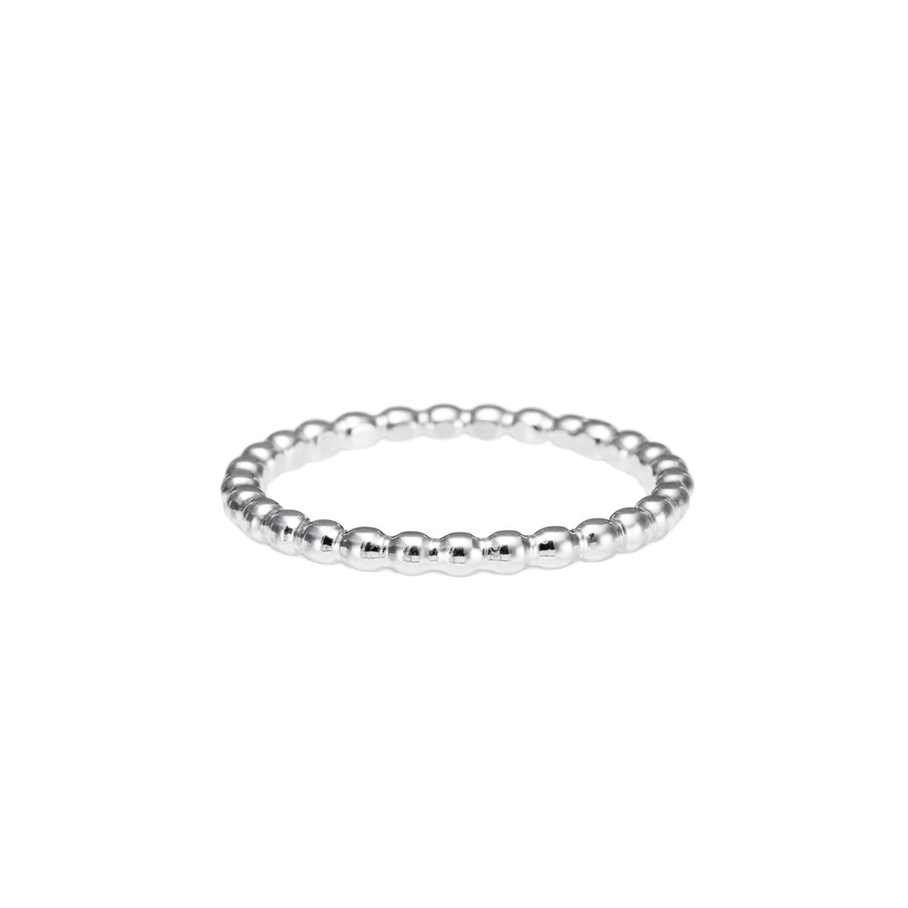 Artisan made silver beaded stacking ring by Mikel Grant Jewellery.