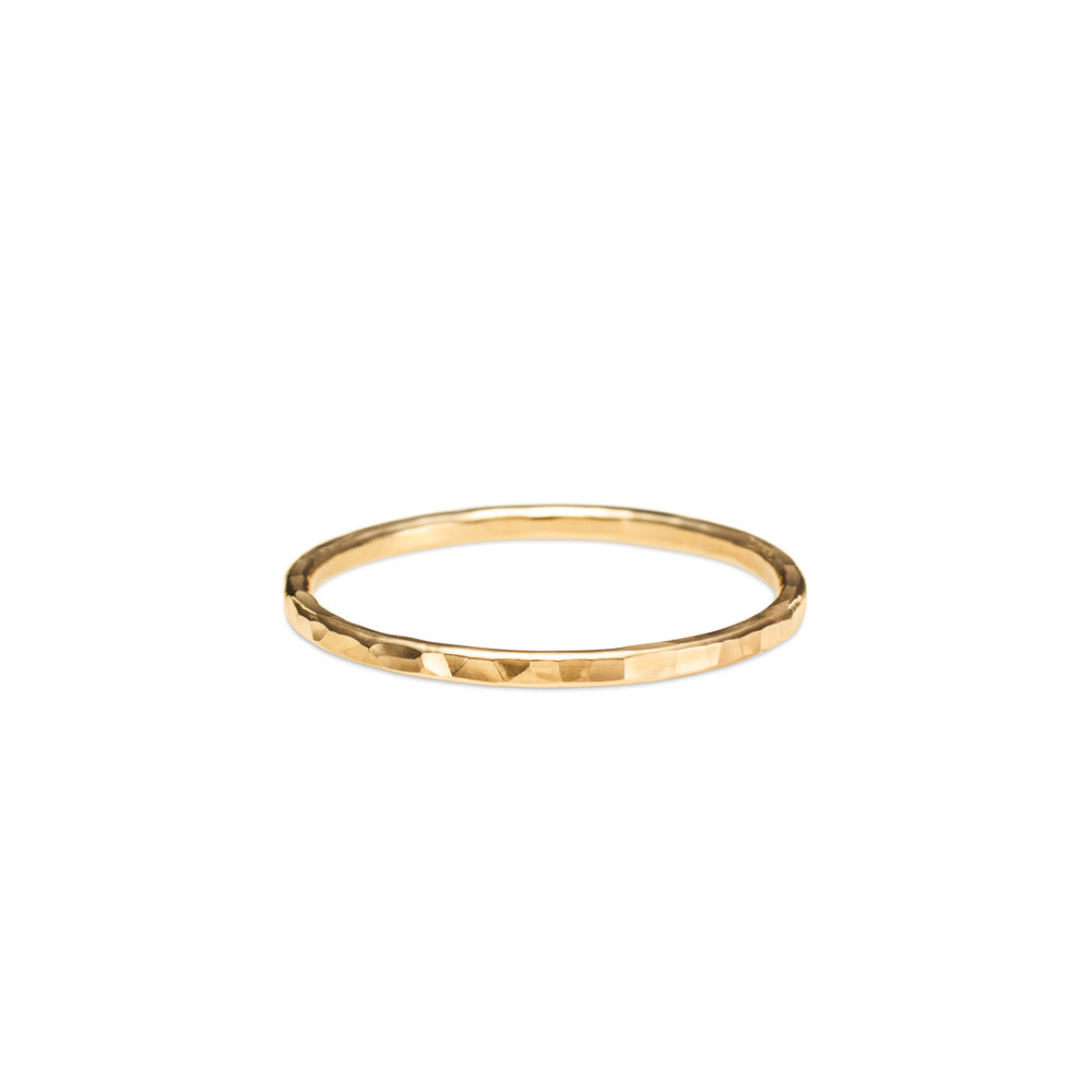 Hammer Textured Ring • Solid 14 Karat Gold
