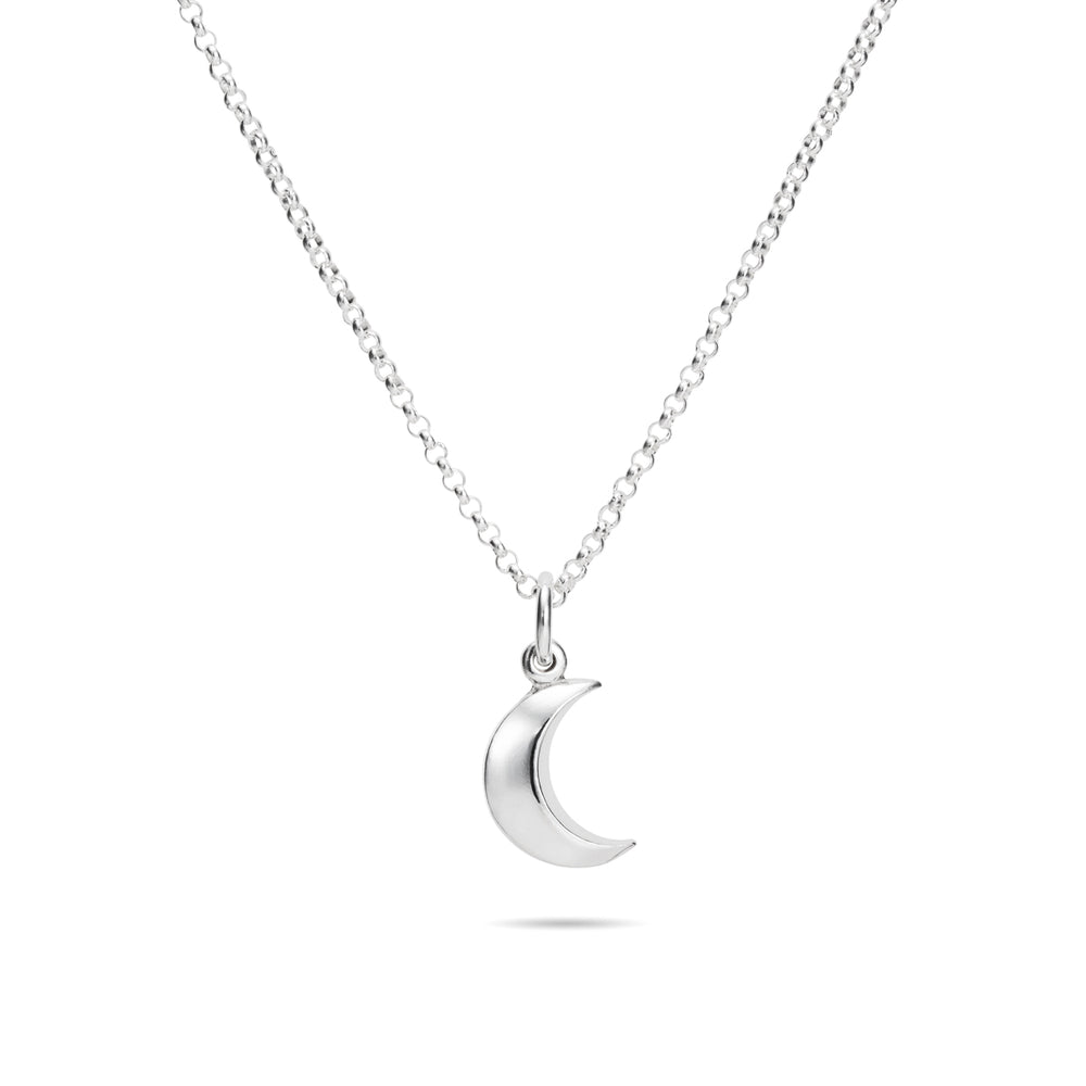Dream Necklace • Sterling Silver Crescent Moon Charm Necklace with Rolo Chain