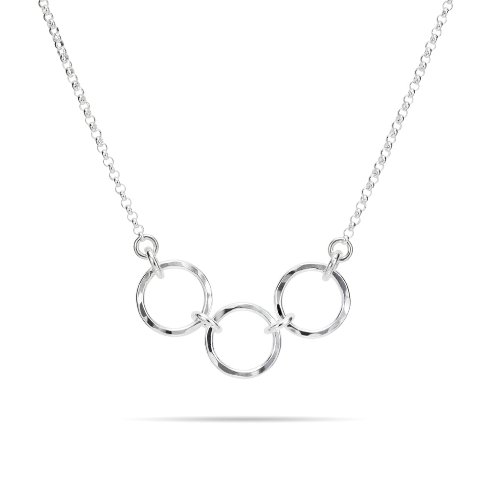 Breathe Trio Necklace • Hammer Textured Sterling Silver with Rolo Chain