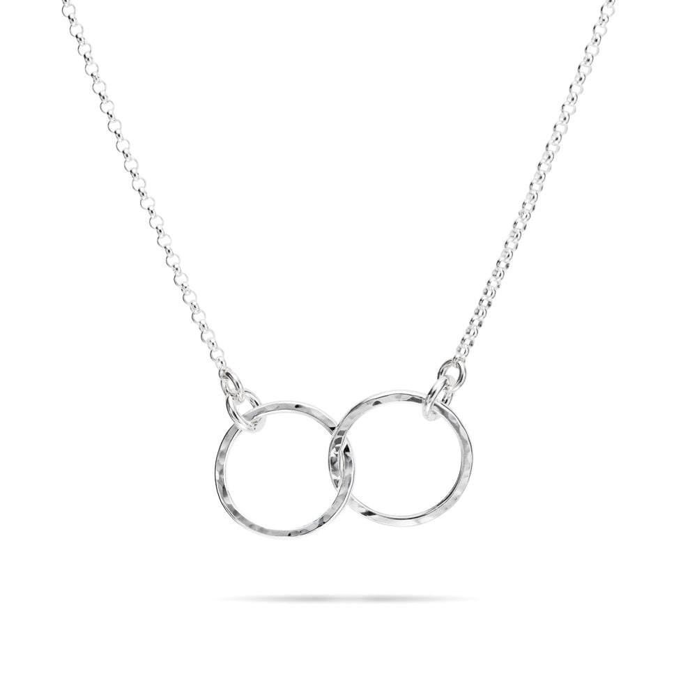 Embrace Necklace • Hammer Textured Sterling Silver with Rolo Chain