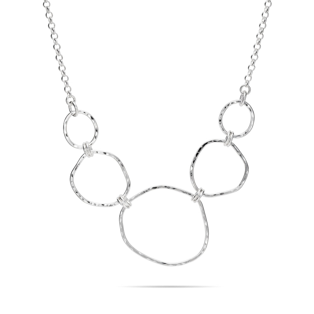 Sterling Silver Hammer Textured Five Link Organic Shapes Necklace with Rolo Chain