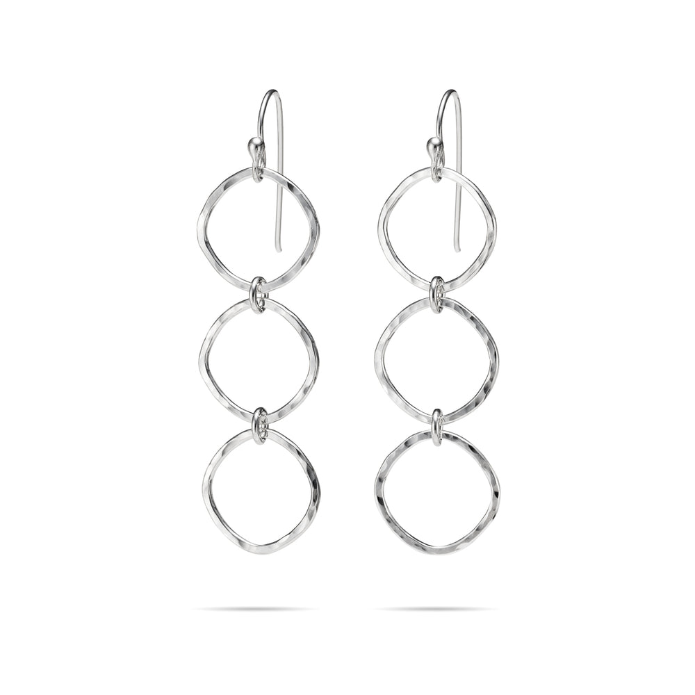 Soft Square Trio Drop Earrings • Hammer Textured Sterling Silver