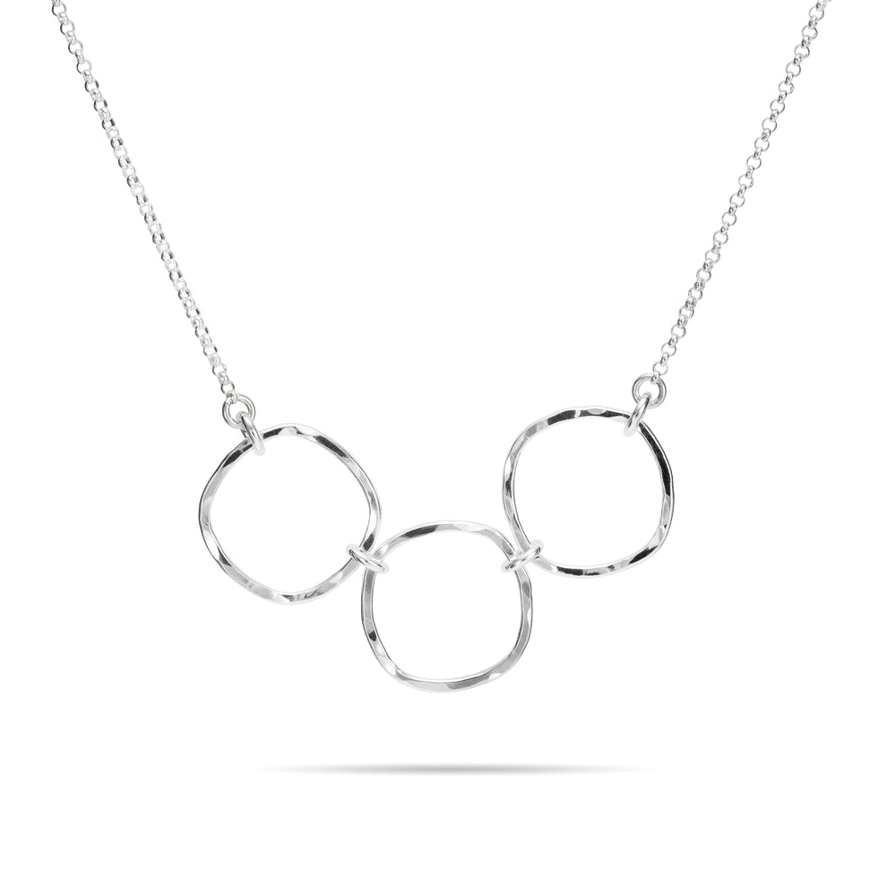 Sterling Silver Hammer Textured Triple Cube Necklace with Rolo Chain