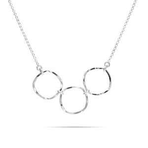 Soft Square Trio Necklace • Hammer Textured Sterling Silver with Rolo Chain