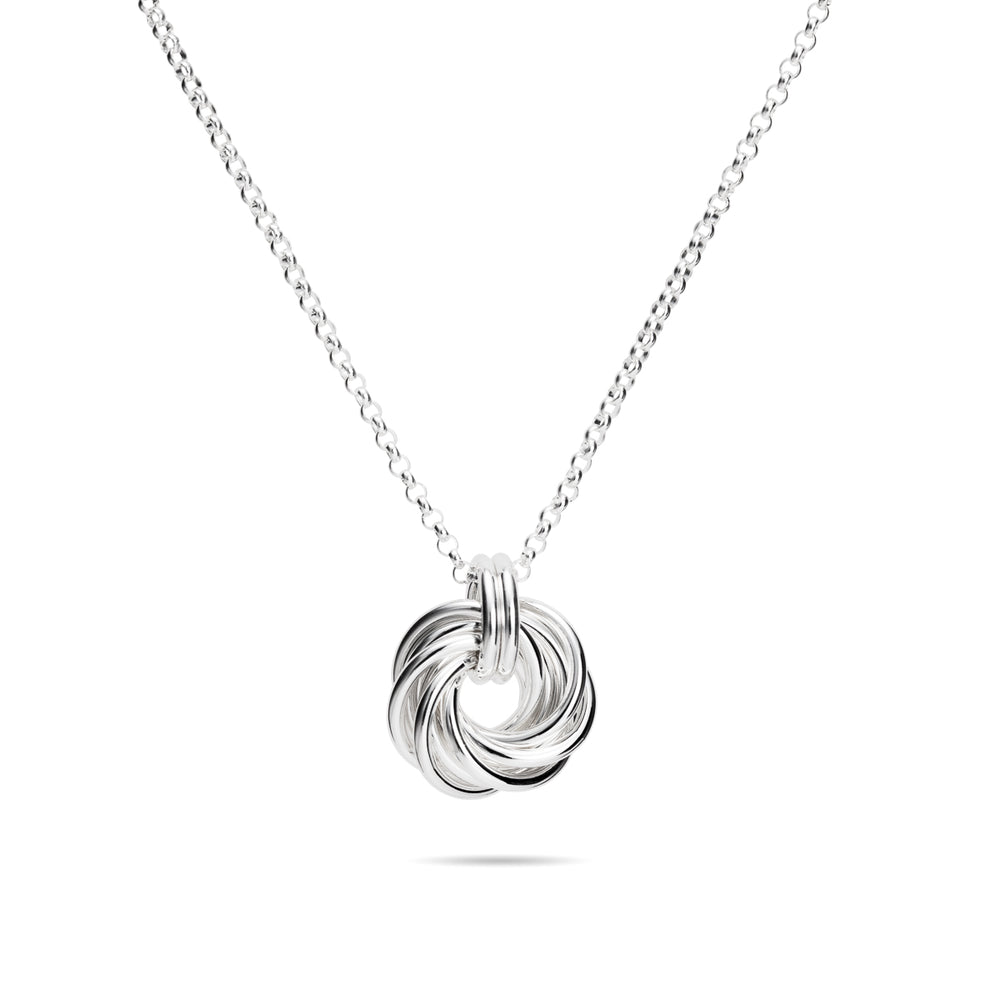 "Sterling Silver Love Knot Necklace with 18"" Rolo Chain"