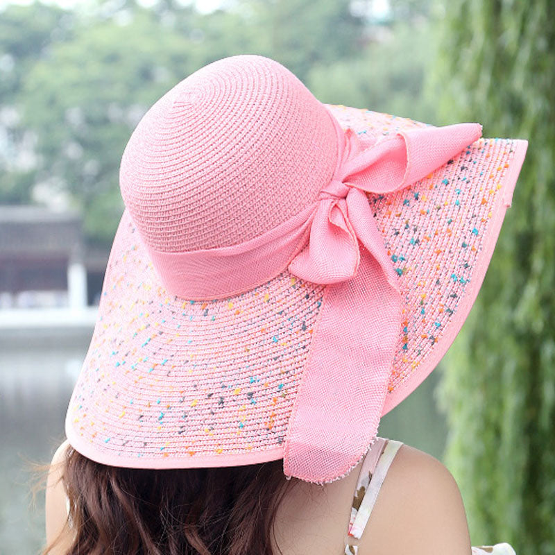 bd283fee Foldable Chiffon Floppy Bowknot Sun Hat - Thick Chick Treasures