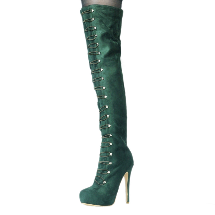 675aeedc3cce Platform Thigh High Heel Winter Boots Army-Green - Plus Size - Thick Chick  Treasures