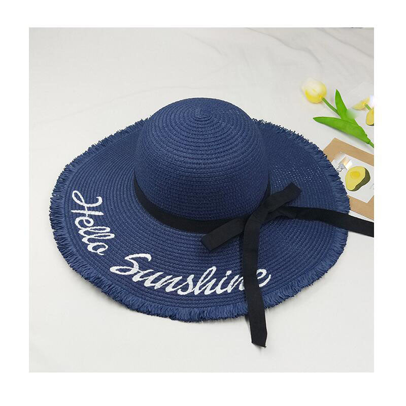 3fa87b55dc433 Embroidery Hello Sunshine Fringed beach straw floppy hat - Thick Chick  Treasures