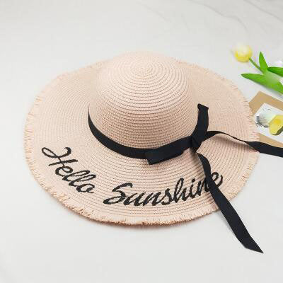 31e0dd0ad2c Embroidery Hello Sunshine Fringed beach straw floppy hat - Thick Chick  Treasures