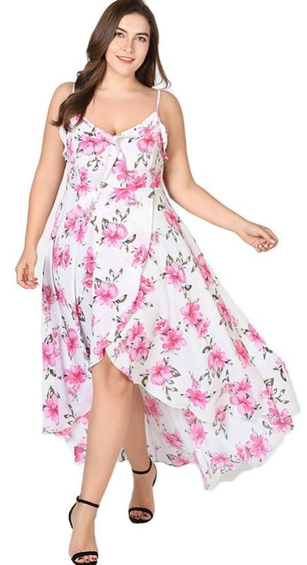 ed43111056cc2 Floral Maxi Plus Size Ruffle Boho Beach Sundress - Thick Chick Treasures