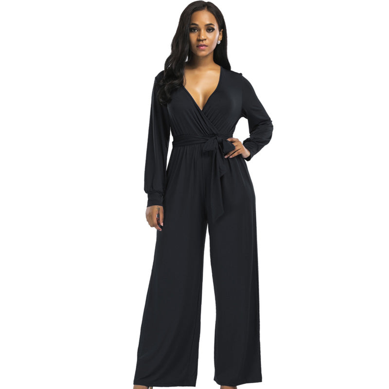 30f280fcd8a 2018 sexy V neck Wide Leg Pants Elegant jumpsuits romper Blue Long Sleeve Plus  Size tunic
