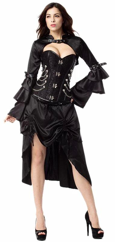 e47fb21d6f6 3-piece Black Gothic Victorian Steampunk Burlesque Corset Dress - Thick  Chick Treasures