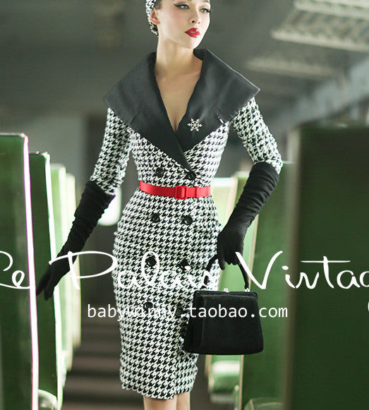40- Le palais vintage summer houndstooth long sleeve wiggle pencil dress in black  plus size a6d02a943759