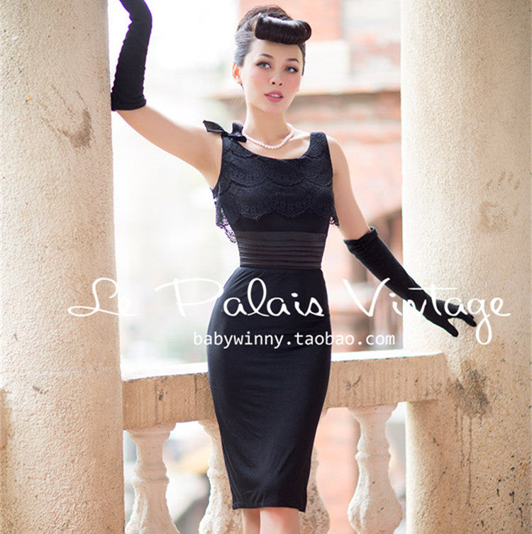 Elegant Vintage Slim Black Pinup Dress Thick Chick Treasures