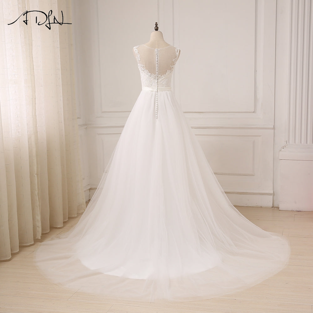 Lace O-Neck Tulle Boho Bridal Bohemian Wedding Gown – Thick Chick ...
