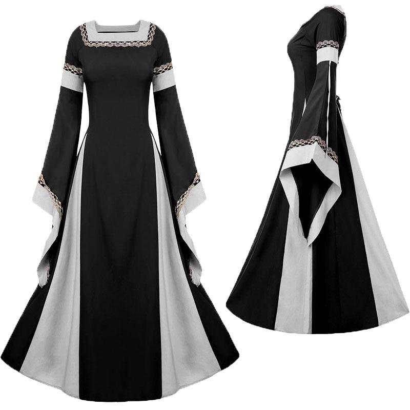 Medieval Victorian Bell Sleeve Square Collar Dress  (S-2XL) – Thick ... fcffe06c5191