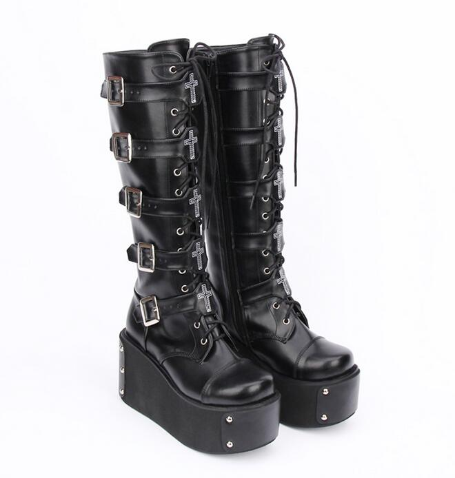 54f6fafd46bc Gothic Black High-Heeled Boots – Thick Chick Treasures