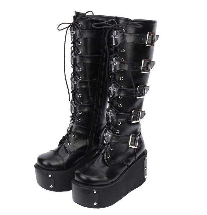 d7ef13b36476 Angelic imprint mori girl Women motorcycle boots lady lolita Boots woman  high heels pumps wedges platform