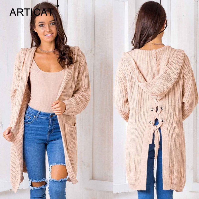 Articat Hooded Knitting Long Cardigan Sweater Women Jumper Back Split Lace  Up Sweater Female Coat 2017 8d821205c