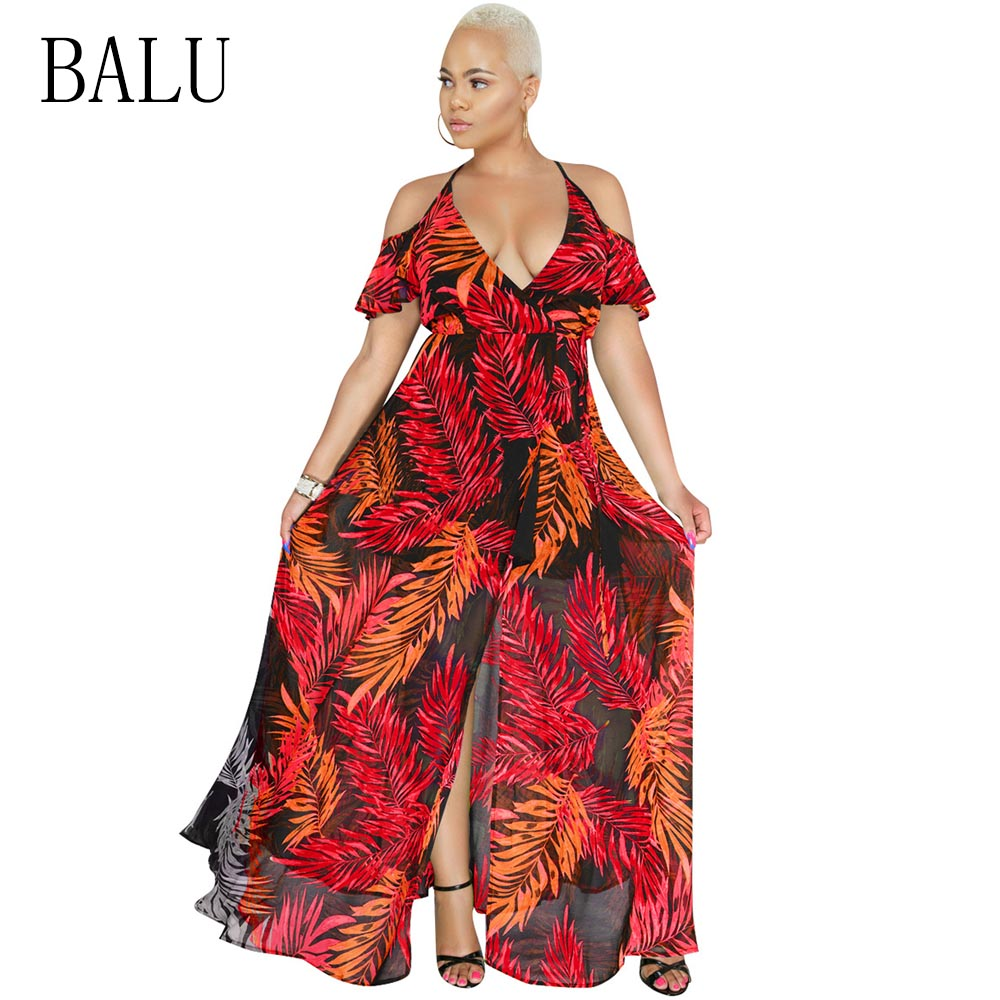 f94cb95b2de BALU Leaves Print Chiffon Long Dress Women V Neck Short Sleeve Split  Evening Party Dress Cold