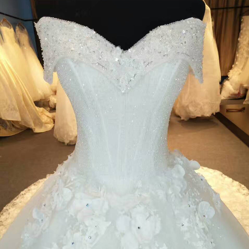 Sequined Boat Neck Lace Royal Train Wedding Gown – Thick Chick Treasures