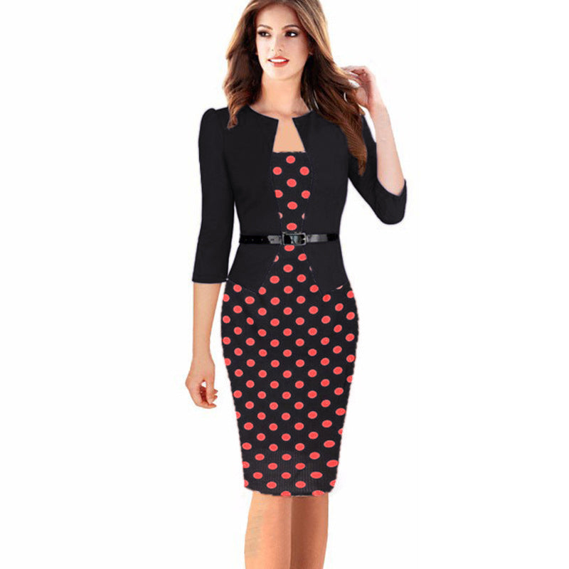 1f6b5318df1 Plus Size Office Floral Polka Dot Gingham Plaid Bodycon Tunic Dress ...