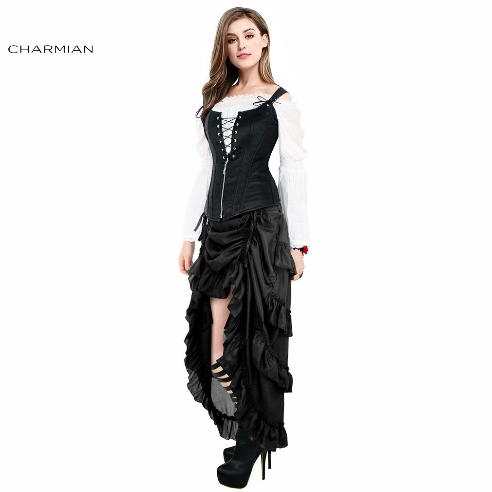 1d0a6426631 Charmian Women s Plus Size Victorian Gothic Steampunk Skirt Sexy Summer  Party Black Ruffles Vintage High Waist