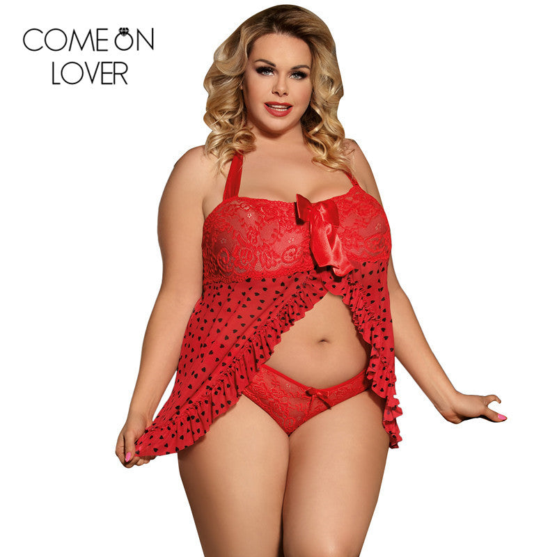 d47e26cdc53 COMEONLOVER Red Lace 2-Piece Exotic Babydoll Lingerie - Thick Chick  Treasures