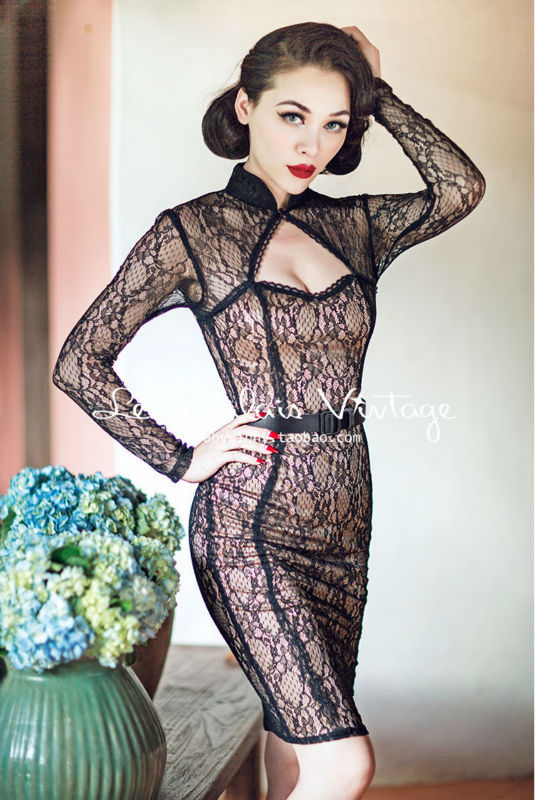 Vintage Limited Edition Black Lace Backless Low-Cut Chi-Pao Dress ... 7d7736c3f